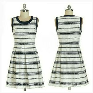 MODCLOTH striped lace fit and flare dress
